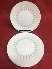 "4 Sango Crest Fine China Art Deco MCM Style 8"" Side Bread Salad Plates Dishes"