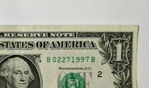 $1 Note Dollar Bill Fancy Serial Number Birthday B 02271997 B - February 27 1997