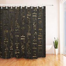 "Assassin's Creed Hieroglyphs Black Wall Shower Curtain Liner Bathroom Decor 72"""