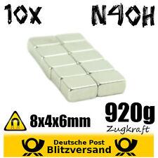 10x Neodym Magnet Quader 8x4x6mm N40H - magnetisch neodymium starke Minimagnete