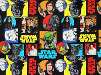 FAT QUARTER STAR WARS FABRIC COMIC MOVIE 100% QUILTING COTTON PRINCESS LEIA YODA