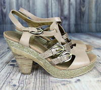 Circa Joan and David LUXE CJKAZA Size 6.5 Heels Sandals Strappy Open Toe Gold