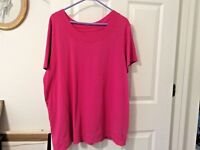 FASHION BUG Womens T-Shirt Top Short Sleeves Solid Pink Plus Size 3X