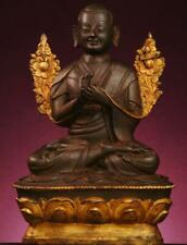 BUDDHA: Antique Burmese Shan Buddha  Bronze Partial Gilt, 1800s, 14 inches Tall
