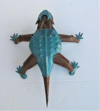 "Yard Art Metal Horned Lizard Horny Toad Frog Animal Sculpture Blue 11 1/2"" Lg"