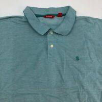 IZOD Polo Shirt Mens 2XL XXL Blue Short Sleeve Cotton Two Button Collar Hi Low