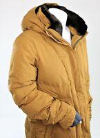 Women's Athleta Brown Goose Down Puffer Jacket Full Zip Hooded Size XL 305228