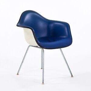 1960s Herman Miller Eames Blue Upholstered Fiberglass Arm Shell Chair w/ H-Base
