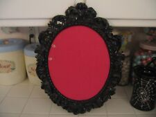 Ornate Black Scroll Framed Memo Message Photo Pin Board With Hot Pink Fabric