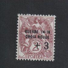 Croix-Rouge guerre timbre de France + 3 sur 2 c Blanc gomme sans charniére