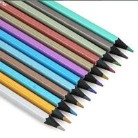 12 Metallic Colour Pencils Drawing Colouring Sketching Pencil Non-Toxic Kids QK