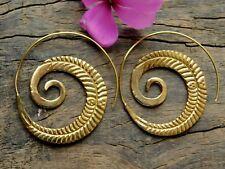 Boho Spiral Brass Gypsy Earrings Tribal Ethnic Festival Jewellery Indian Hoops