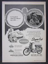 1960 Honda CA100 Super Cub Motorcycle photo vintage print Ad