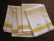 6 VINTAGE NEVER USED LINEN GLASS CLOTH KITCHEN DISH TOWELS ORIG LABELS YELLOW