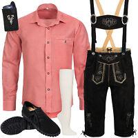 Trachten Set 6tlg Herren Trachtenlederhose mit Träger Hemd Schuhe Socken SW3R1