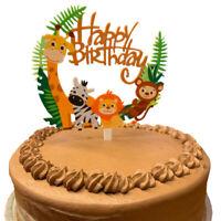 Wild African Jungle Safari Animal Cake Topper Happy Birthday Party Decoration