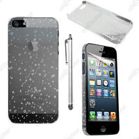 Housse Etui Coque Rigide Motif Gouttelettes Blanc Apple iPhone SE 5S 5 + Stylet