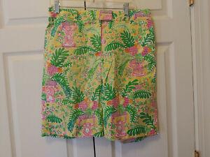 "Vtg Women Lilly Pulitzer Lemon Sorbet Yellow Paradise Bermuda 12"" Shorts Size 8"