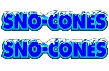 2 Sno Cone 25x13 Decals For Concession Shaved Ice Snow Cone Trailer Stand