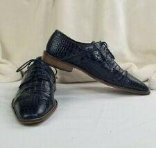 Stacy Adams Raimondo 25115 Blue Leather Men's Cap Toe Croc Print Shoes Size 11M