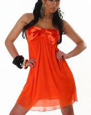 Sexy DONNA BANDEAU Babydoll chiffon satin mini abito dress 32/34/36 Arancione Nuovo