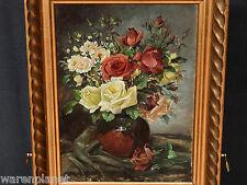 L. SCH M ? ÖL GEMÄLDE ANTIK 1917 STILLLEBEN ROSEN JUGENDSTIL still life roses