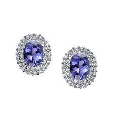 925 Sterling Silver Formal Stud Tanzanite CZ Earrings Cubic Zirconias Pushbacks