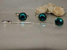 S/P Blue Zircon/ Turquoise Cufflinks & Cravat Pin-Wedding-December Birthstone
