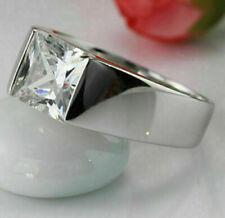 3 ct Princess Diamond Engagement Men's Ring Silver Ring VVS1/D Jewelry
