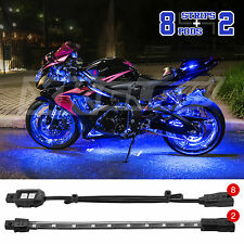 Custom Motorcycle UnderGlow Accent Neon 60 LED 8 Pod 2 Strip Light Kit - BLUE