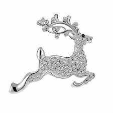 Ladies New Xmas Jumping Reindeer Crystal Brooch Christmas Stocking Fillers Socks