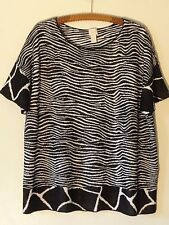 Chico's 2  Sweater Misses XL Black White Cotton Blend Pull Over MINT