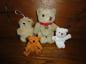 Miniature Teddy Bears Cute Little Lot of 4