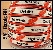 "NHL Detroit Red Wings 3yds  5/8"" Elastic FOE, hair Ribbon Bow Headband red/white"