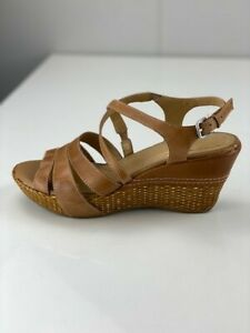 Naturalizer Womens N5 Comfort Nuevo Brown Leather Strappy Sandals Wedge Sz 7.5 W