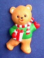 Hallmark MAGNET Christmas Vintage BEAR TEDDY with GIFT Holiday Fridge