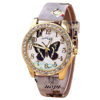 New Fashion Women Diamond Dial PU Butterfly Bracelet Quartz Crystal Wrist Watch