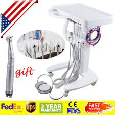 Portable Dental Delivery Unit Mobile Cart Compressor System + handpiece USA