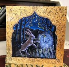 The Harebell Lantern Greetings Card by Hannah Willow Hare playing with Bluebell