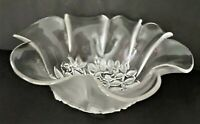 Mikasa Crystal Round Ruffled Edge Serving Bowl w/ Frosted Leaves Pre-owned