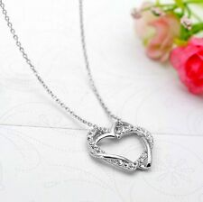 Cadena De Cuello Collar Colgante Corazón Doble 2 ORO BLANCO 18k Chapado Cristal