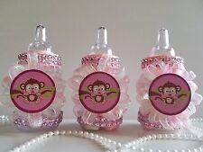 12 Monkey Pink Fillable Bottles Baby Shower Girl Favors Safari Jungle Animal