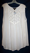 Style & Co Woman XL Sleeveless White Crinkle Cloth Tank Top Beaded Yoke NWT