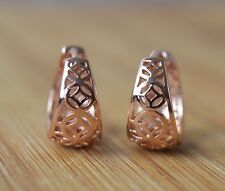 18k/18ct Rose Gold Filled Patterned 14mm Huggie Hoop Earrings