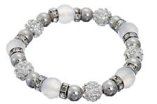Elasticated Metal, glass & shamballa style bead bracelet with CZ spacers.
