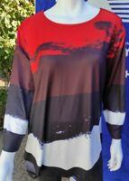 Women 3/4 Sleeve Asymmetric Hem Colorblock Tunic Top Pullover Size 3XL