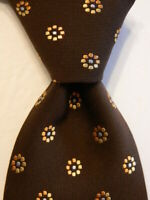 ERMENEGILDO ZEGNA Mens 100% Silk Necktie ITALY Luxury Geometric Brown/Orange GUC