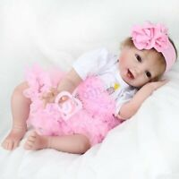 "22"" Handmade Silicone Lifelike Baby Girl Doll Newborn Reborn Dolls Clothes ("