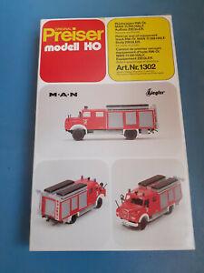 Preiser Bausatz Feuerwehr 31302 1302 H0 Rüstwagen RW-Öl MAN 11.168 HALF Ziegler