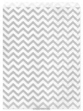 """100 Flat Merchandise Paper Bags: 8.5 x 11"""", Silver Gray Chevron Stripes on White"""
